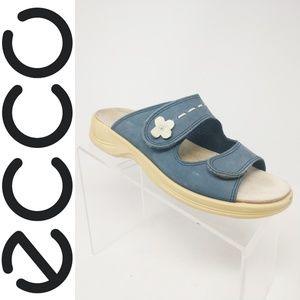 Ecco Blue Nubuck Leather Adjustable Double Strap S